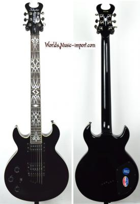 VENDUE... SCHECTER Scorpion Tribal baritone Left Hand Black *OCCASION*